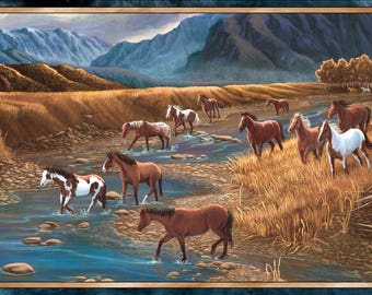"Quilting Treasures Mountain Horse Panel by Lane Kendrick 24794 -X 44"" x 24"" Free Shipping"