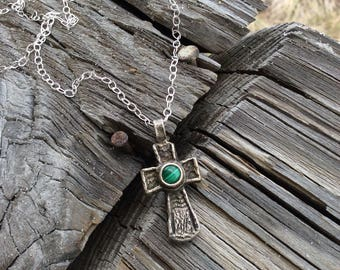 The Old Rugged Cross with a malachite stone, cuttlefish cast sterling silver cross, hand cast, handmade, rustic jewelry