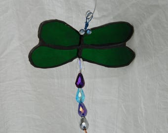 Suncatcher Dragonfly Mobile Suncatcher Stained Glass Emerald Green