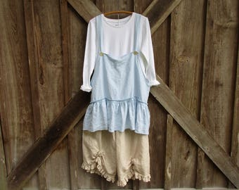 linen tunic jumper pinafore smock apron in light blue ready to ship