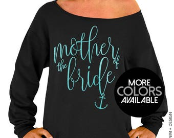 Nautical Mother of the Bride Sweatshirt. Nautical Beach Wedding. Black Slouchy Oversized Sweatshirt. White. Gold. Rose Gold. Aqua Ink