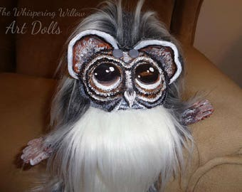 OOAK Fantasy Plush EXTRA FLUFFY Art Doll Plushie Harold The Wise Old Gray And White Owl Mythological Creature