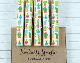 Peg Magnets - Magnetic Clothespin - Bright Succulent Potted Cactus - Paper Covered Decoupage Decorated Wooden Pegs - Fridge Magnets