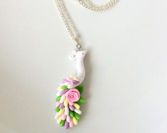 Flower girl necklace with white, pink and green peacock pendant handmade from polymer clay