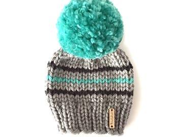 Baby Pom-Pom Beanie, Pom Pom Beanie, Baby Hat, hand knit Hat, gray baby hat, blue Beanie, Ready to Ship
