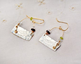 Silver Earrings Mixed Metal Earrings Sterling Silver Gold Filled Earrings Distressed Silver Sheet Earrings Stone Beads Made in Israel Coupon