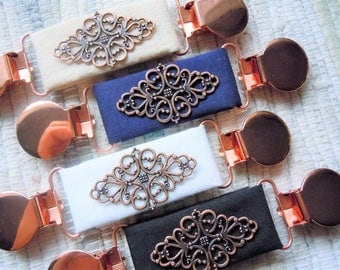 Copper filigree on fabric dress clip, shirt clip, jacket clip, for the back of the waist