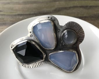 Stunning Onyx, Chalcedony, & Gray Moonstone Statement Ring, Size 8