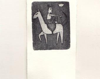 Aisha - Aquatint Etching Original Handmade Fine Art Intaglio Print 4.6 x 2.6 inch