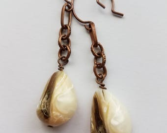ON SALE-Glory Earrings in Aged Copper on Chain w/Natural Vanilla Shells-Earthy-Long-Hippie-Bohemian-Country-Chic-Natural-Organic-Folk-White