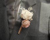 Blush & Ivory Peony Sola Boutonniere with jute wrapped stem.