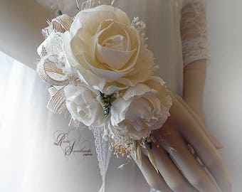 Ships in 5 days ~~~ Sola Peony Flower Corsage, can be worn as a wrist corsage or pin on corsage.