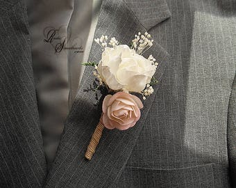 Will ship in 5 days ~ Blush & Ivory Peony Sola Boutonniere with jute wrapped stem.