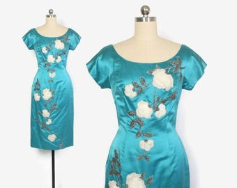 Vintage 50s Silk Dress / 1950s Turquoise Silk Beaded White Velvet Roses Wiggle Dress S