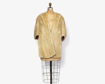 Vintage 50s Blonde Fur STOLE / 1950s Genuine Soft Sheared Beaver Golden Ivory Fur Bridal Shawl Wrap