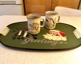 Vintage Seasons Greetings Serving Tray, 1950s Party Tray, Santa Coffee Breakfast in Bed Tray