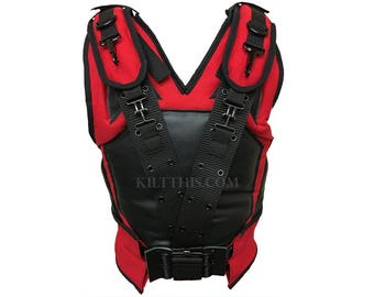 Red and Black Bane Deadpool Inspired 10oz Canvas Military Vest with Belt created by Kilt This!