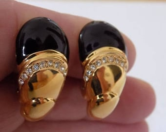 Vintage earrings, signed Vendome glossy black enamel and crystals gold plated clip-on earrings, retro jewelry