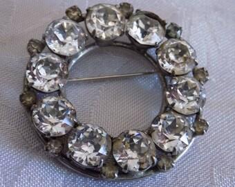 "Vintage brooch, signed ""Sherman"" Austrian crystal circle brooch, sherman retro 1950s jewelry"