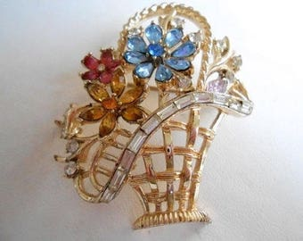 Vintage brooch, signed Coro pegasus crystal flower basket brooch, retro jewelry