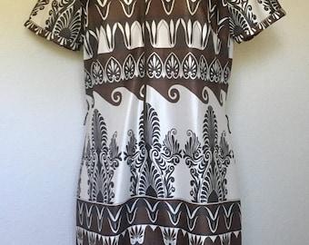 Vintage brown dress 1960s 1970s, 60s mod geometric dress, 70s owl dress, tiki polynesian tribal, Art Deco dress, art nouveau vtg, L large