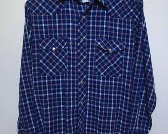 Vintage blue western shirt Wrangler men M medium, blue plaid western snap shirt, retro cowboy shirt blue checkered, vtg western long sleeve