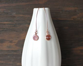 Rose gold earrings with spiral, contemporary rose gold earrings