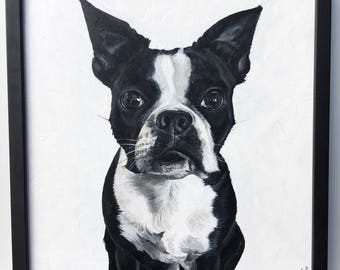 Custom Pet Portrait Painting (Boston Terrier)