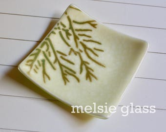 Creamy Coral glass anything dish - cream glass with brown and blue coral design