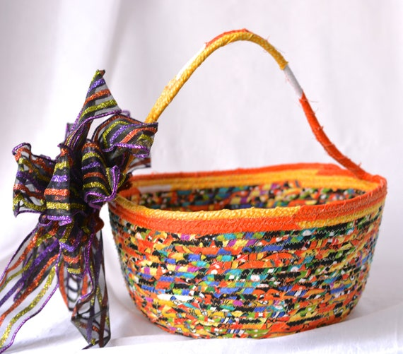 Halloween Decoration, SALE... Candy Bucket, Handmade Fall Basket, Homemade Halloween Basket, Trick or Treat Bowl,