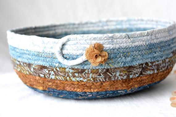 Fall Gift Basket, Autumn Decoration, Gorgeous Batik Basket, Handmade Rustic Fiber Art Bowl, Autumn Decoration, Blue and Brown Bowl