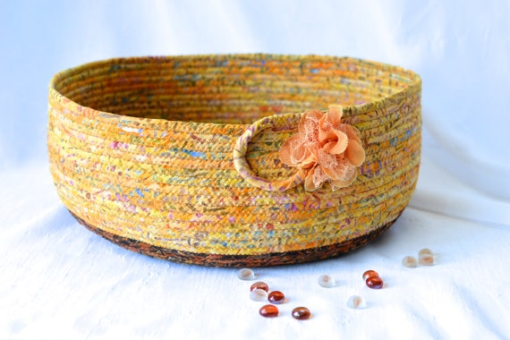 Rustic Tan Basket, Storage Organizer, Handmade Fiber Art Bowl, Modern Cotton Pet Bed Furniture, Batik Fabric Basket, Cat Bed