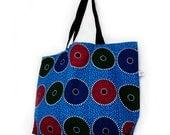 Tote Bag Large en Tissu Wax Africain Bleu Turquoise Fuchsia Vert Poche intérieure & Etui de rangement Sac Fourre tout Sac shopping Sac Plage