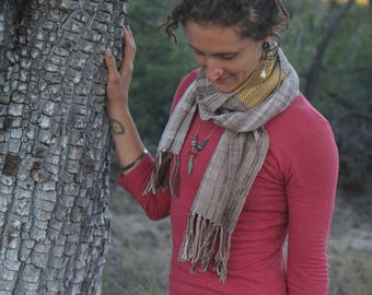 Fiber Love Earth Hug - Handwoven Everyday Luxury Scarf Raw Silk, Merino, Sea Cell & Silk