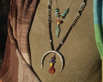 Monsoon Moon Ascending Rainbow - Silver Moon Earth Talisman - Raw & Natural Adornment