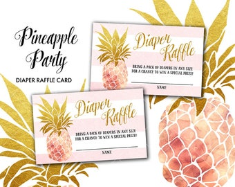 Pineapple Baby Shower Diaper Raffle Card Tropical Summer Sweet Pineapple Diaper Raffle Card Instant Download Print Your Own