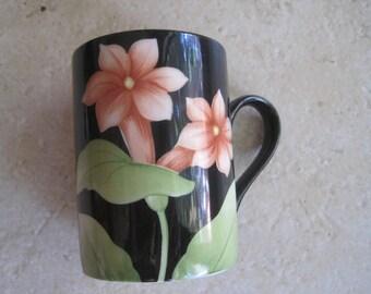 Fitz & Floyd Vintage Black Mug Coffee or Tea Cup Fleur de Minuit Collection