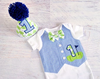 First Birthday Golf Themed Navy Blue and White Seersucker Tuxedo Bodysuit Vest with Removable Argyle Bow Tie