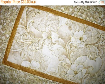 Sale Christmas in July Elegant Table Runner, floral gold metallic, quilted table runner, handmade, metallic, fabric from Robert Kaufman
