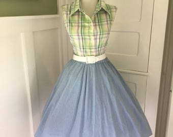 VINTAGE 1960s Womens Light  Blue Full Skirt