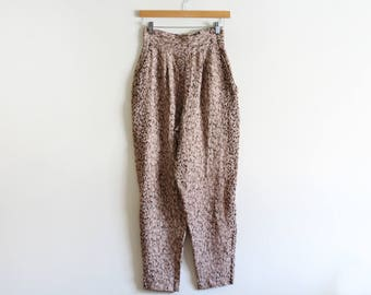 Vintage Printed High Waisted Crepe Pants / Tapered / Slouchy / W 26""