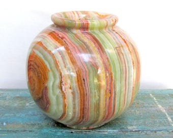 "Carved Banded Onyx Vase - Natural Stone Sculpture 5"" tall"