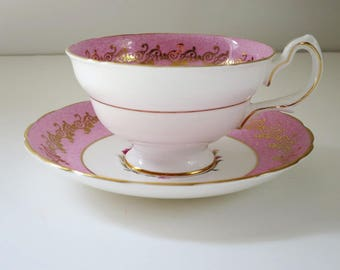 Vintage Tea Cup and Saucer, Pink Teacup and Saucer, Tea Cup Set, Valentine Gift, Wedding Bridal BFF Maid of Honor Mom, Gift Ideas for Her