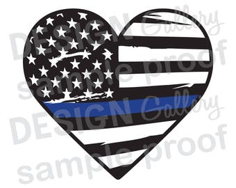 Heart American Flag Thin Blue Line Love - Distressed Rippled Wave Tattered - JPG image & SVG DXF cut - Printable Digital Iron On