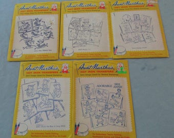 Five Different Days of Week Transfers by Aunt Martha - Uncut Hot Iron Transfers - CS21N