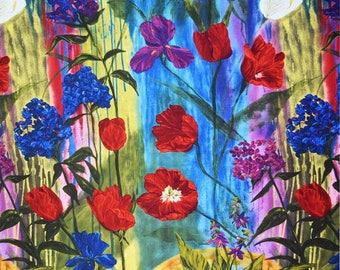 Una's Garden 23 inch QUILT PANEL - by Stephanie Brandenburg - Frond Design Studios Cotton Fabric - By the Yard