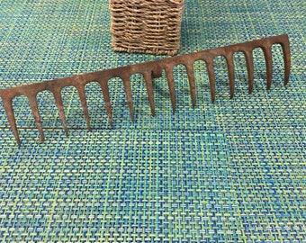 Vintage Rustic Garden Rake Head -rustic garden, rake, garden tool, rake, vintage tool, vintage garden, barware, glass holder, jewelry