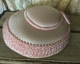 Pink Brimmed Hat- 1950's