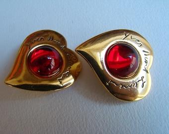 YSL Yves Saint Laurent Red Heart Earrings