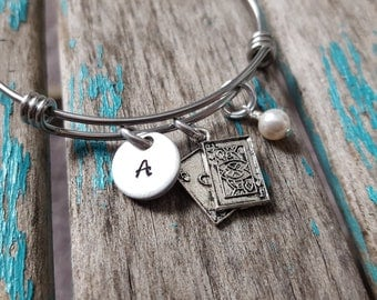 Playing Cards Bangle Bracelet- Adjustable Bangle Bracelet with Hand-Stamped Initial, Playing Cards Charm, and an accent bead of choice